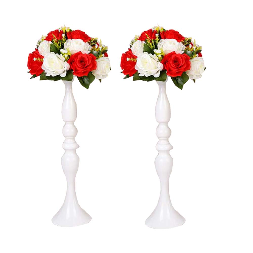 LANLONG 2 Pieces 50cm Height Metal Candle Holder Candle Stand Wedding Centerpiece Event Road Lead Flower Rack (White x 2) (White, 19.6')