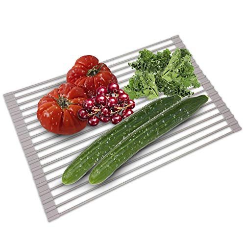 (Over The Sink Dish Drying Rack - Collapsible Roll Up Silicone Covered Stainless Steel Dish Drainer Kitchen Sink Caddy Mat Works also as Heat Resistant Trivets for Hot Dishes -)