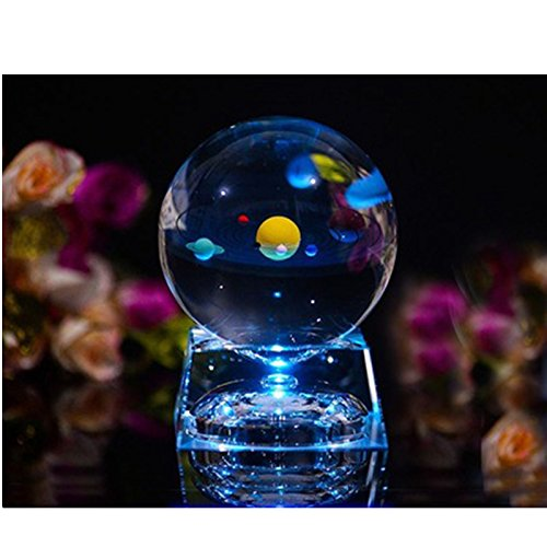 Diameter Solar System - Zulux Solar System Balls - Crystal Ball for Kids with LED Lamp Base, Clear 80mm(3 inch) Glass Sphere for Kids Birthday Gifts, Teacher Gifts,Gift for Anniversary and Boyfriend Birthday
