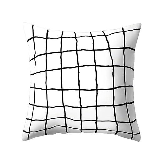 Funda de cojín cuadrada de Dragonaur con estampado geométrico de color blanco y negro, 16#, Medium