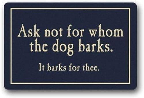 SODIKA Indoor Outdoor Kitchen Floor Bathroom Thin Mats Rug Front Door Mat Non Slip 32 x20 ,L x W Ask Not for Whom The Dog Barks