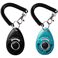 Roysili Dog Training Clicker with Wrist Strap Pet Clicker 2 Pack Black Blue