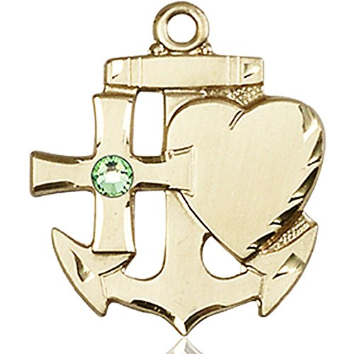 14kt Yellow Gold Faith Hope & Charity Medal with 3mm August Green Swarovski Crystal 7/8 x 3/4 inches by Bonyak Jewelry Saint Medal Collection