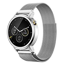 18MM 20MM 22MM Watch Bands Pinhen Milanese Loop Magnet Mesh Stainless Steel Watch Band For LG Samsung Gear S3 Frontier Classic Moto 360 Pebble Time Smart Watch (22MM Silver)