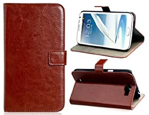 Faux Leather Stand Flip Case with Magnetic Closure for Samsung Note 2 (Brown)