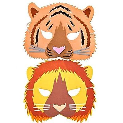 Rainforest 2 masques en mousse Décor têtes d'animaux de la Jungle Lion et Tigre Jouet grenouille pour Bleu