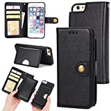 iPhone 6 PLUS Case,Zmiq Removable wallet phone case,Double Layer Shock Absorbing Premium Soft PU Color Matching Leather Wallet Cover Flip Cases For apple iPhone 6s PLUS (6Plus/6sPlus Black EHY)
