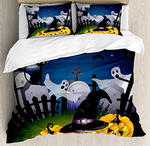 Halloween King Size Duvet Cover Set by Ambesonne, Funny Cartoon Design with Pumpkins Witches Hat Ghosts Graveyard Full Moon Cat, Decorative 3 Piece Bedding Set with 2 Pillow Shams, Multicolor ()