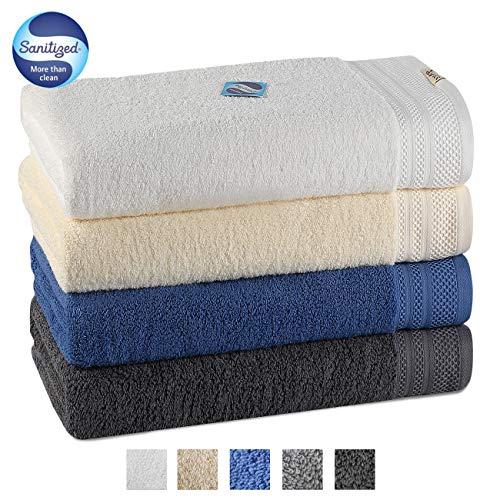 Luxury 4 Piece Bath Towel Set 56x28 Inch -100% Long Staple Cotton Super Soft,Ultra Absorbent and Machine washable Bath Towels for Bathroom, Hotel and Spa Quality(White,Beige,Dark Blue,Dark Grey) ()