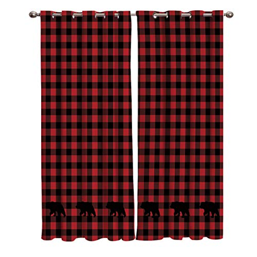 Window Treatments Curtains Room Window Panel Set for Living/Dining/Bedroom, Buffalo Check Plaid Bear Applique 52 by 63 Inch, 2 Panels