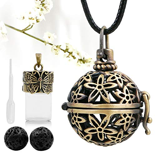 Lava Rock Aromatherapy Essential Oil Diffuser Necklace Flower Locket-style Pendant with Butterfly Vial, 1 Dropper, 24 Adjustable Wax Rope