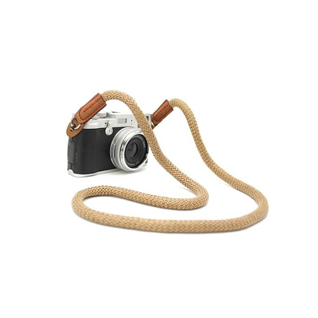 CTN Sangle pour Appareil Photo en Coton Beige bandouli/ère Courroie de Cou dragonne r/églable en n/éopr/ène pour DSLR Canon Fuji Fujifilm Leica Nikon Pentax Olympus Sony Panasonic Pentax Samsung Sigma