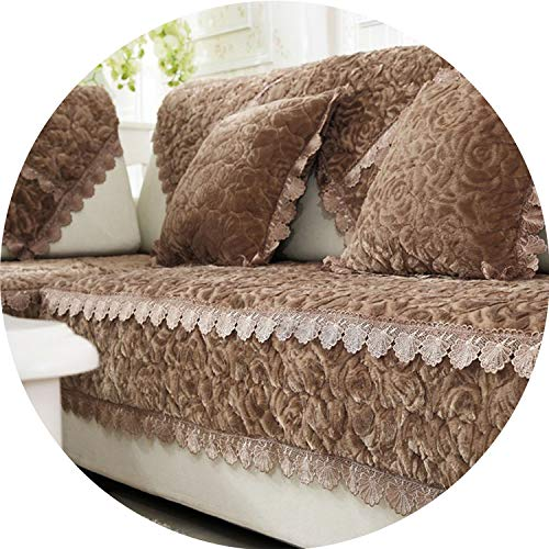 I'm good at you Thicken Plush Fabric Sofa Cover Lace Slip Resistant Slipcover Seat European Style Couch Cover Sofa Towel for Living Room Decor,A,110x210cm ()