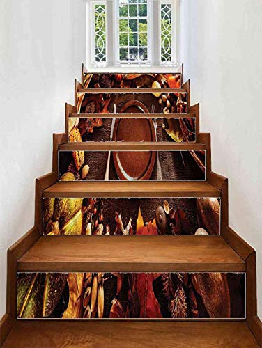 Stairs Stickers Harvest,Dinner at Thanksgiving for Living Room, Hall, Size:W 39