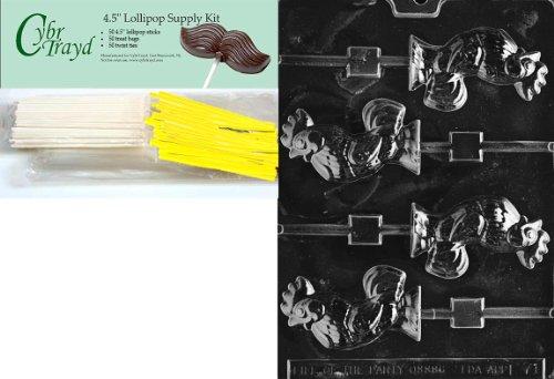 Cybrtrayd 'gallo Lolly' Pascua caramelo de chocolate molde con piruleta de alimentación paquete, incluye 50Palitos de...