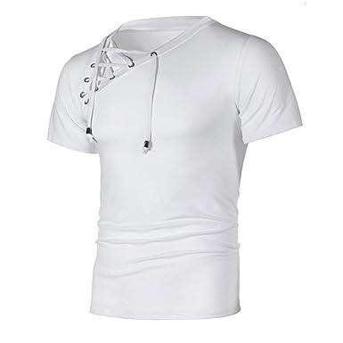 OHQ T-Shirt à Bretelles pour Hommes Noir Blanc Gris Foncé Mode Personnalité  Bandage Occasionnels cc27447d0785