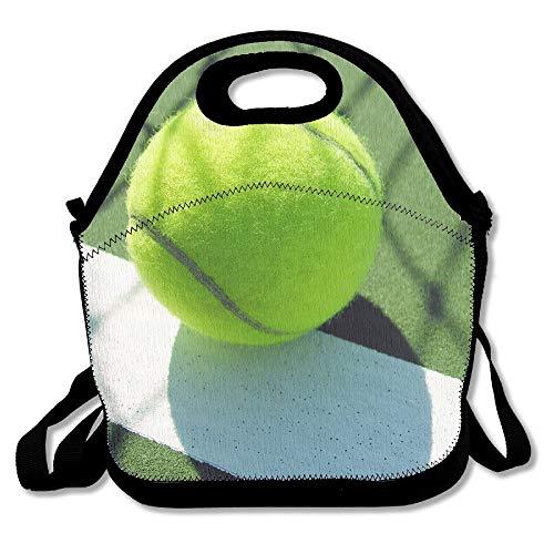 Nopofjiobr Neoprene Lunch Tote - Tennis Wallpaper Waterproof Reusable Lunch Box For Men Women Adults Kids Toddler Nurses With Adjustable Shoulder Strap - Best Travel Bag Handbag for School Office