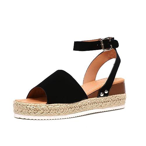 Shoes Sandals GIY Womens Denim Wedges Platform Slides