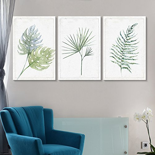 3 Panel Hand Drawn Minimal Plant Leaf Type Artwork x 3 Panels