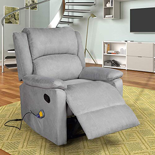 - Merax Massage Recliner Chair with Heat and Massage Heated Vibrating Suede Massage Recliner (Grey Blue)