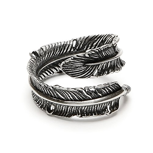 Adjustable Bird Feather Wrap Ring in Antique Sterling Silver (Small) by Silver Phantom Jewelry