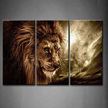 First Wall Art   3 Panel Wall Art Brown Fierce Lion Against Stormy Sky  Painting The