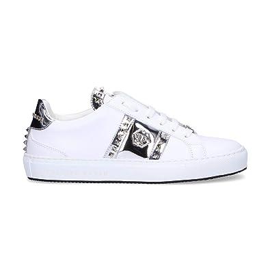 5d40635fdbc4 Philipp Plein Damen WSC0963PLE075N0170 Weiss Leder Sneakers: Amazon ...