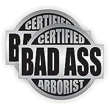 (2) Bad Ass ARBORIST Hard Hat Stickers   Badass Motorcycle Helmet Decals   Laborer Foreman Bossman Worker Construction Tree Cutter Climber Chainsaw Chain Saw Labels Badges