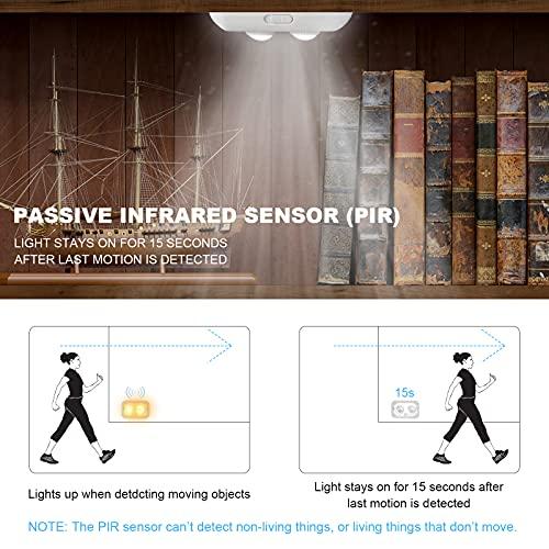 Gun Safe Light with Built-in PIR Motion Sensor, 2 Adjustable Led Lights Heads Pivot Independently for Directional Lighting Inside Your Safe, Battery Operated (White)