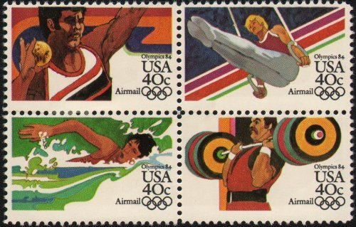 1984 SUMMER OLYMPICS '84 ~ LOS ANGELES ~ AIRMAIL ~ SWIMMING ~ WEIGHT LIFTING ~ SHOT PUT ~ GYMNASTICS #C108a Block of 4 x 40 US Postage Stamps by USPS