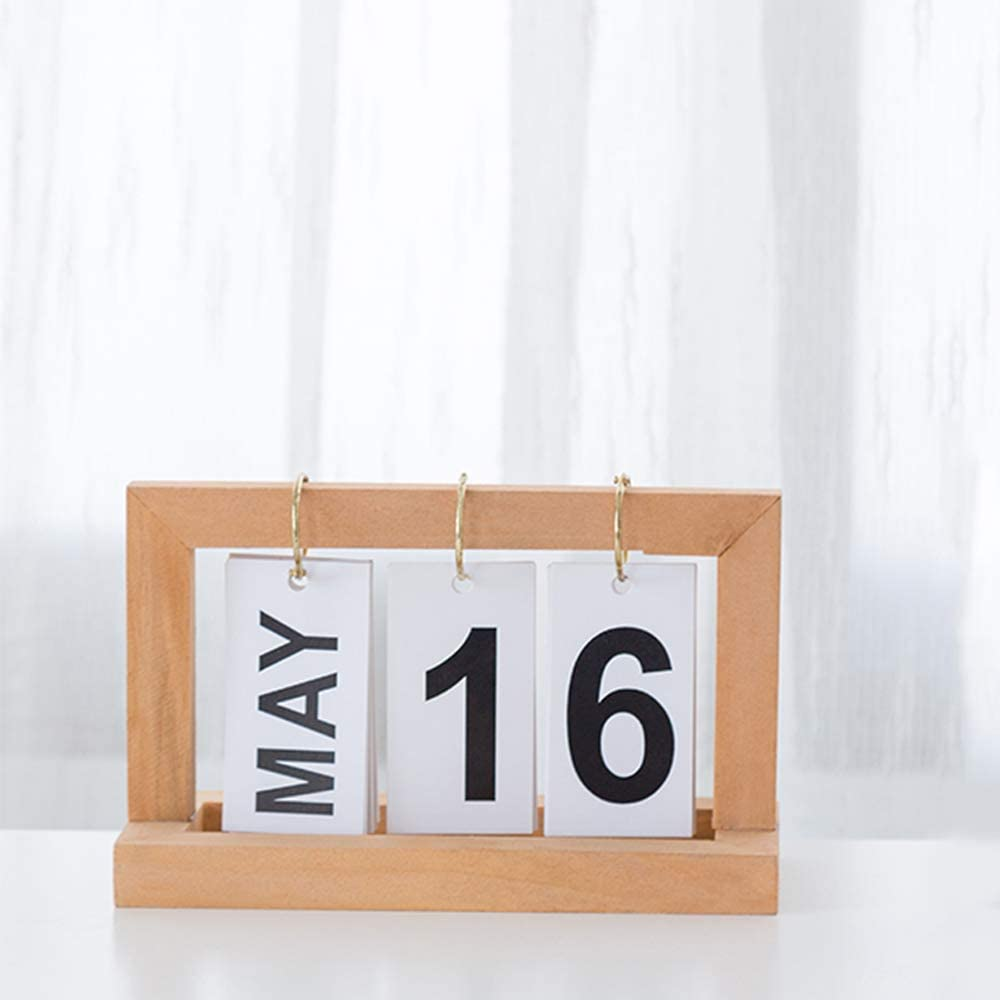 Vintage Wooden Perpetual Desktop Calendar with Wooden Month Blocks Date Display Home Office Decoration Wood Color