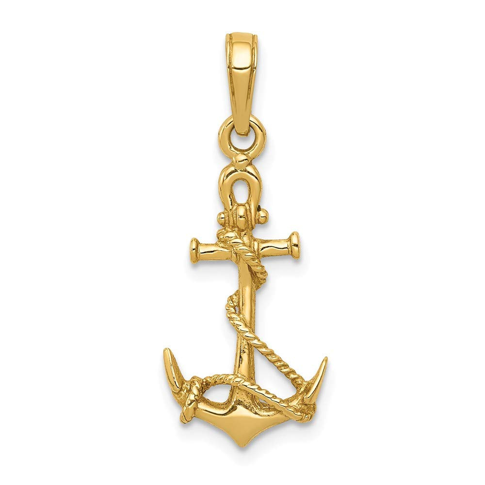 14k Yellow Gold 3-D Anchor Shackle and Entwined Rope Pendant