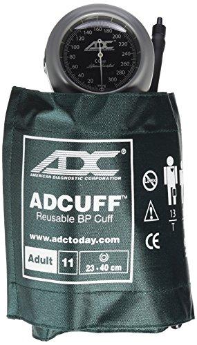 ADC Diagnostix 703 Palm Style Aneroid Sphygmomanometer with Adcuff Nylon Blood Pressure Cuff, Adult, Dark Green