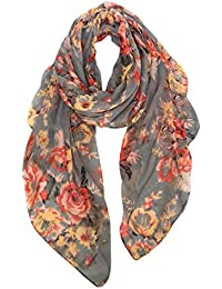 Lightweight Scarves: Fashion Flowers Print Shawl Wrap For Women