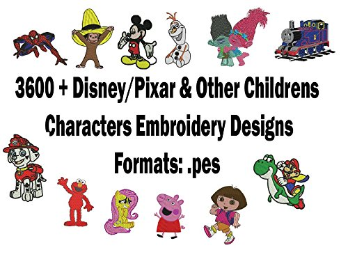(3600+ Children Characters Embroidery Machine Pattern Designs Brother PES NEW)