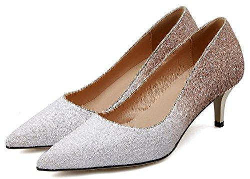 HooH Mujer Zapatos de tacón Pointed Toe Tres tacones Lentejuelas Gradient Planos Y Boda Zapatos de tacón Slip On Blanco-6.5CM