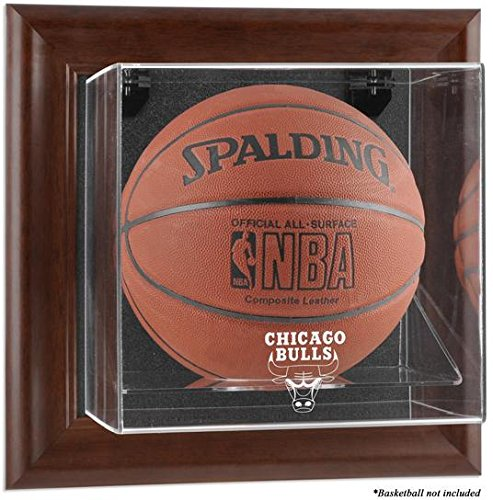 Chicago Bulls Brown Framed Wall Mounted Basketball Case