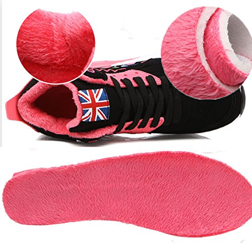 NEWZCERS Frauen Herbst Winter High Cut Warme Beiläufige Sportschuhe Luftpolster Baumwolle Schuhe Rot