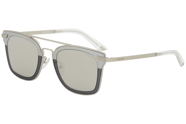Amazon.com: Police Mens Spl348 Square Sunglasses, Palladium ...