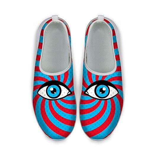 Voor U Ontwerpen Grappige Multicolor Grote Ogen Streep Print Fashion Sneaker Ademend Slip Loafers Voor Dames Heren Lichtblauw Rood
