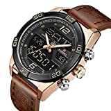 Mens Analog Digital Dual Display Watches Military Casual Luxury Waterproof Chronograph Alloy Electroplating Gold Wristwatch