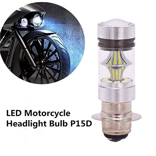 Usee LED Motorcycle Headlight Bulb P15D H6M Hi Lo Beam 100W 1000LM Extremely Bright White for Yamaha Suzuki Kawasaki