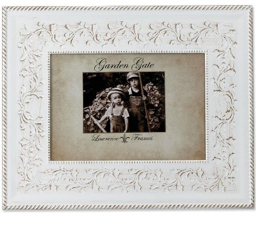 Lawrence Frames Garden Gate Floral Vine with Rope Border 5 by 7-Inch Metal Picture Frame, Rustica White