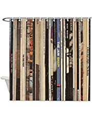 DKISEE Shower Curtains Liner Classic Rock Vinyl Records Compatible with Standard Showers, Clear 72x72Inch(180x180cm)