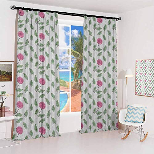 Rose Pleated curtains with blackout and lining Modern Pattern Pink Rose Blossoms with Spiral Designs and Green Leaves Used for Living room bedroom with sliding door patio door W100 x L84 Inch Pink Re
