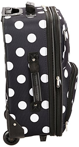 Rockland Luggage 2 Piece Printed Luggage Set, Black Dot, Medium