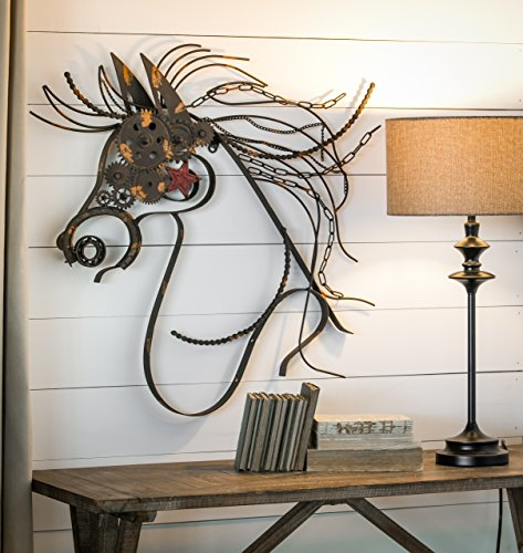 Rustic Large Metal War Horse Wall Decor With Bike Chain