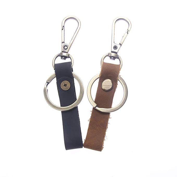 RAYNAG 2 Pack Retro Car Leather Keychain Key Holder with Metal Hanging Buckle