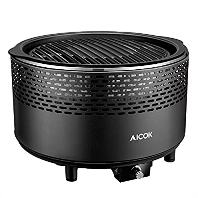 Aicok Smokeless Charcoal Grill, Portable Charcoal Grill, Barbecue Grill for Backyard, Electric Fan, Travel Bag, Black by Aicok