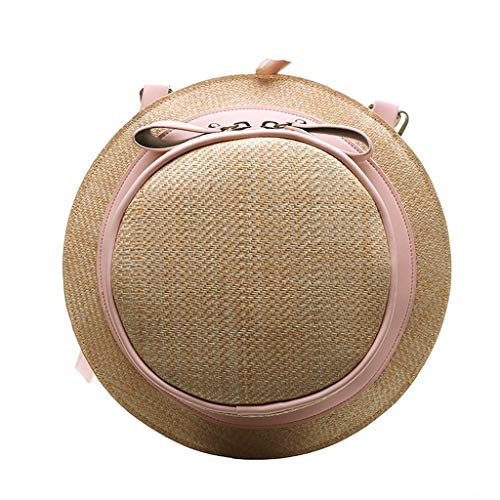 Vielgluck_Bag Bowknot Backpack for Women Girls, Hat Shaped MutiFunction Shoulder Bag Fashion Weaving Wild Straw Bookbag with Removable Strap